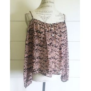 "•new• NWOT ""Chimera"" chiffon cold-shoulder blouse"
